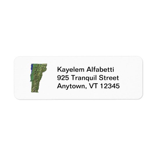 Vermont Map Return Address Label