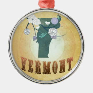 Vermont Map With Lovely Birds Silver-Colored Round Decoration