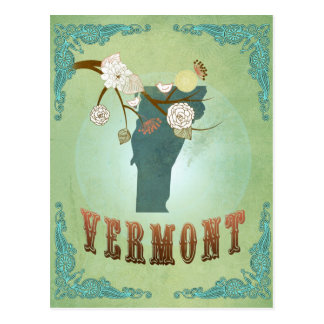 Vermont Modern Vintage State Map – Green Postcard