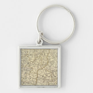 Vermont, New Hampshire Silver-Colored Square Key Ring