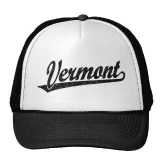 Vermont script logo in black distressed cap