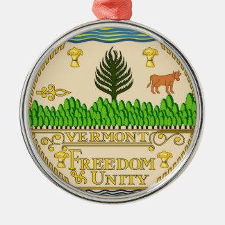 Vermont state seal america republic symbol flag us Silver-Colored round decoration