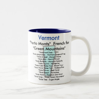 Vermont Symbols & Map Two-Tone Coffee Mug