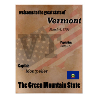 Vermont The Green Mountain State Classic Poster