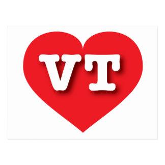 Vermont VT red heart Postcard