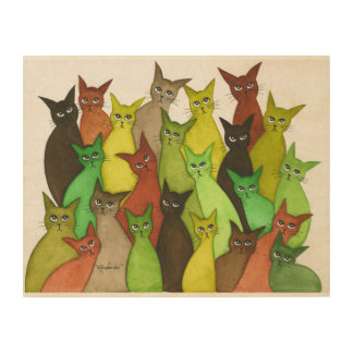 Vermont Whimsical Watercolor Cats Wood Canvas