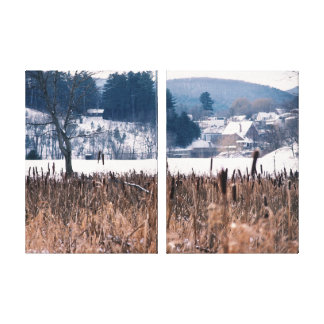 Vermont Winter Cattails Scene Wrapped Canvas