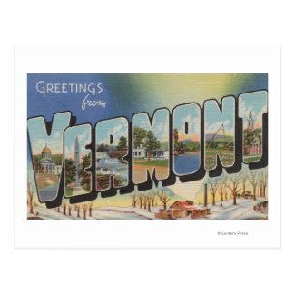 Vermont (Winter Scene) - Large Letter Scenes Postcard