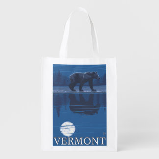 VermontBear in the Moonlight Reusable Grocery Bag