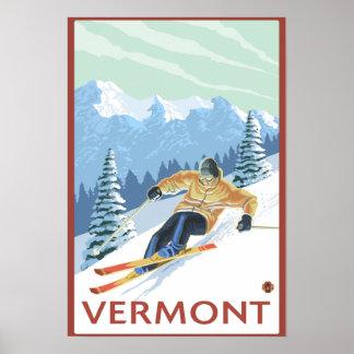VermontDownhill Skier Scene Print
