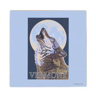 VermontHowling Wolf Maple Wood Coaster