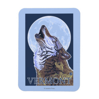 VermontHowling Wolf Rectangular Photo Magnet