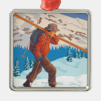 VermontSkier Carrying Skis Christmas Ornament