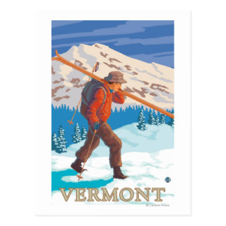 VermontSkier Carrying Skis Postcards