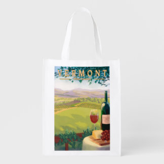 VermontWine Country Scene Reusable Grocery Bag
