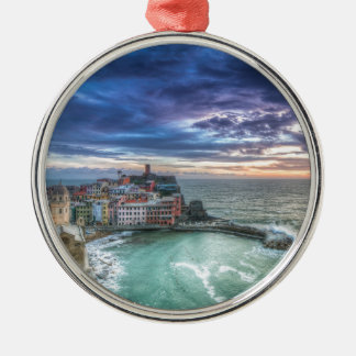 Vernazza at sunset, Italy Silver-Colored Round Decoration