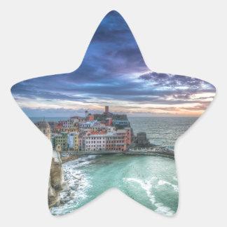 Vernazza at sunset, Italy Star Sticker