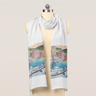 Vernazza Harbor - White Jersey Scarf