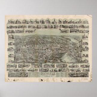 Vernon Connecticut 1895 Antique Panoramic Map Poster