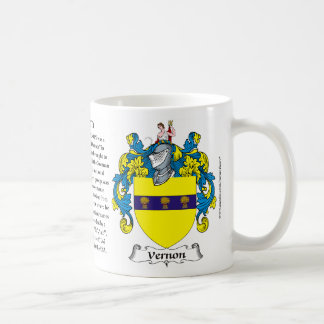 Vernon, the Origin, the Meaning and the Crest Basic White Mug