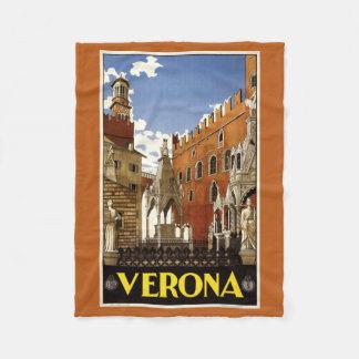 Verona Italy vintage travel fleece blanket