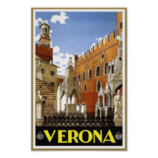 Verona Italy Vintage Travel Poster