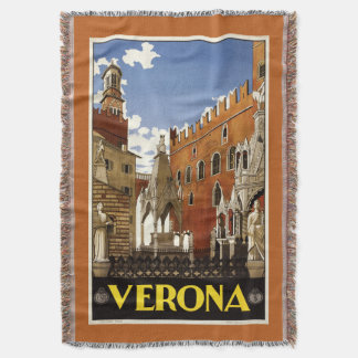 Verona Italy vintage travel throw blanket