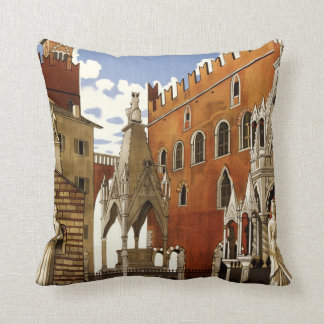 Verona Italy vintage travel throw pillow
