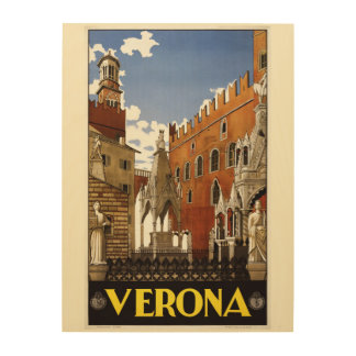 Verona Italy vintage travel wood canvas
