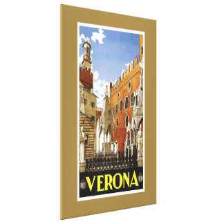 Verona Northern Italy Vintage Travel Gallery Wrapped Canvas