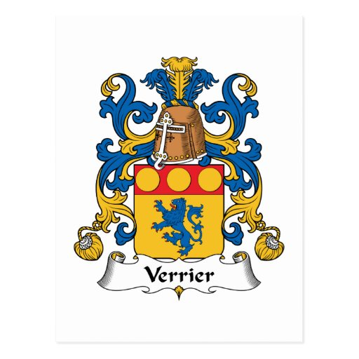 Verrier Family Crest Post Cards