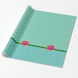 Versatile Aqua & Green Polka Dot Square Pink Rose Wrapping Paper