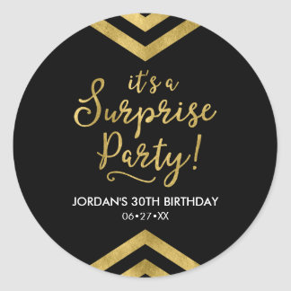 Versatile Faux Gold Chevron It's a Surprise Party Classic Round Sticker
