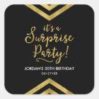 Versatile Faux Gold Chevron It's a Surprise Party Square Sticker