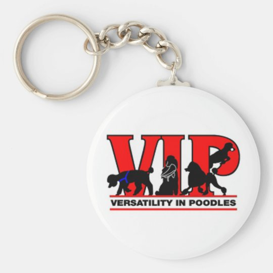 Versatility in Poodles Basic Round Button Key Ring