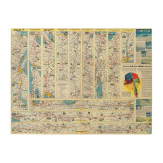 Verso American Airlines system map Wood Wall Decor