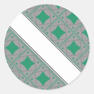 vert et gris pattern round stickers