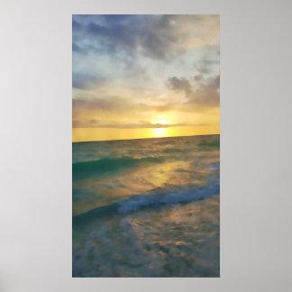 Vertical aquarelle poster: Florida ocean sunset Poster
