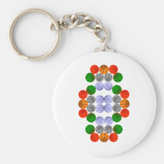 Vertical Balls Basic Round Button Key Ring