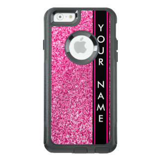 Vertical Bar Customized Glitter Pink Background OtterBox iPhone 6/6s Case