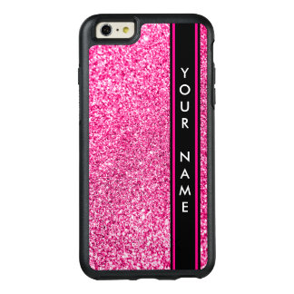 Vertical Bar Customized Glitter Pink Background OtterBox iPhone 6/6s Plus Case