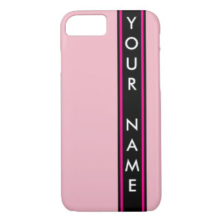 Vertical Bar Customized Pink Background iPhone 7 Case