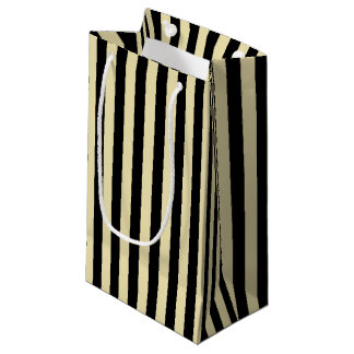 Vertical Beige and Black Stripes Small Gift Bag