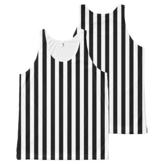Vertical Black and White Stripes All-Over Print Tank Top