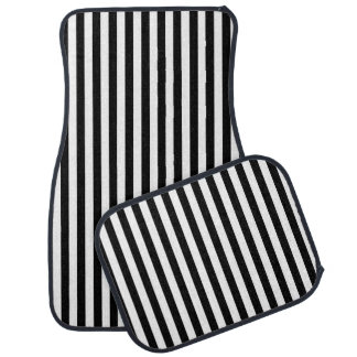 Vertical Black and White Stripes Car Mat