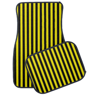 Vertical Black and Yellow Stripes Car Mat