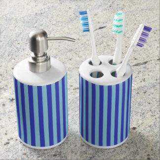 Vertical Blue and Pastel Blue Stripes Bathroom Set