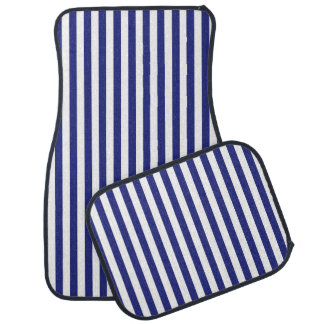 Vertical Blue and White Stripes Car Mat