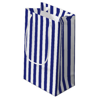 Vertical Blue and White Stripes Small Gift Bag