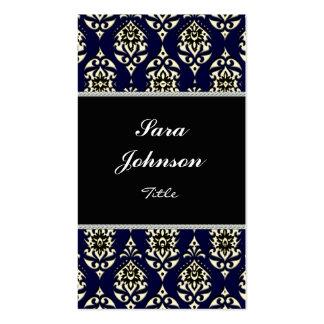 Vertical blue damask classy elegant Business card